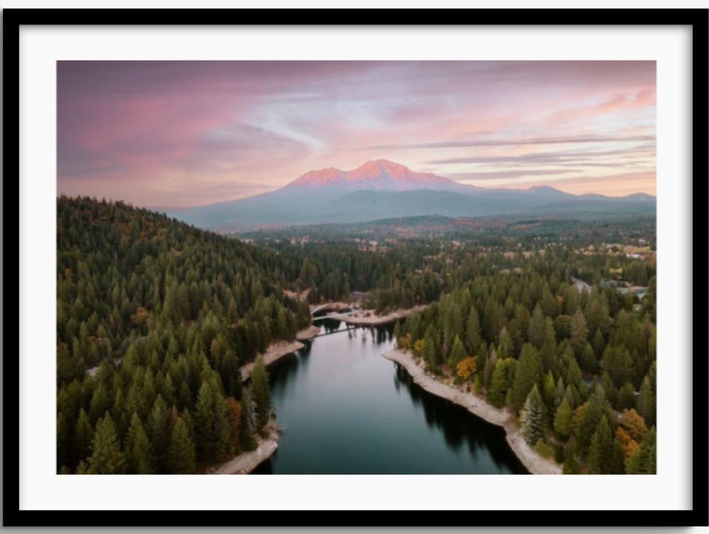 Framed Art of Mt Shasta and Siskiyou Lake