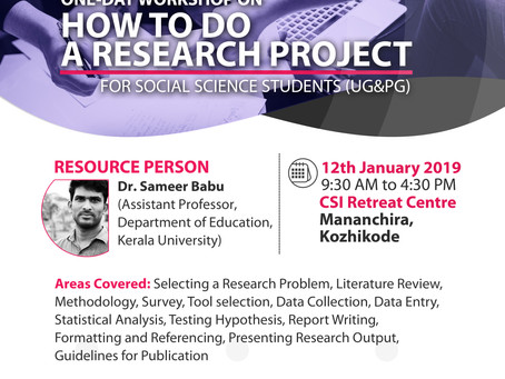 One Day Workshop on How to do a Research Project in Social Science