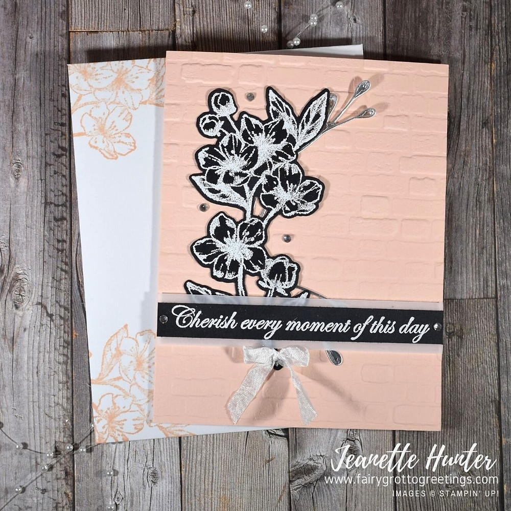 Image of handmade card using Stampin' Up! Products.  Features the Forever Blossoms stamp set and matching Cherry Blossoms dies. Done in Petal Pink, Basic Black and Silver (foil) colors.