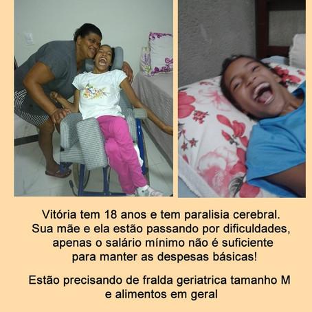 Doações de nossas iluminadas Eliane Gomes e Gisele Gomes para a querida Vitória.