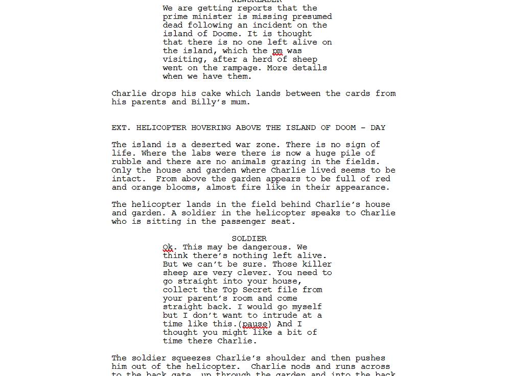 Excerpt from script of The Slugs of Doom