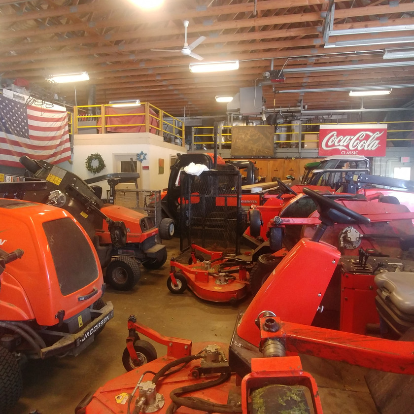 An assortment of Haverford's larger mowing equipment