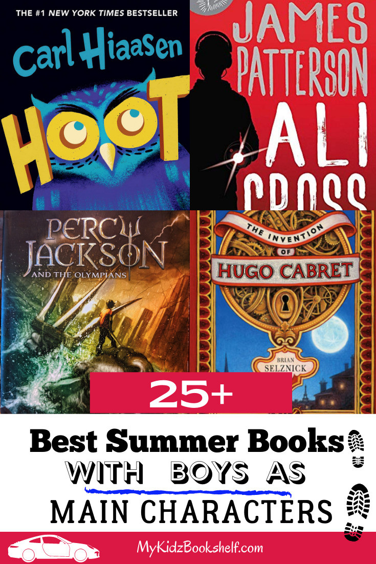 25+ Books with Boys as Main Characters book collage with Hoot, James Patterson, Percy Jackson and Hugo Cabret