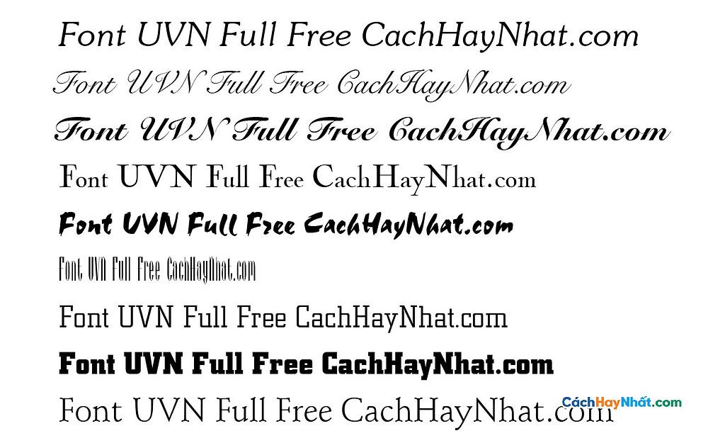 Bộ Font UVN Full - UVN Font Việt Hóa Free Download