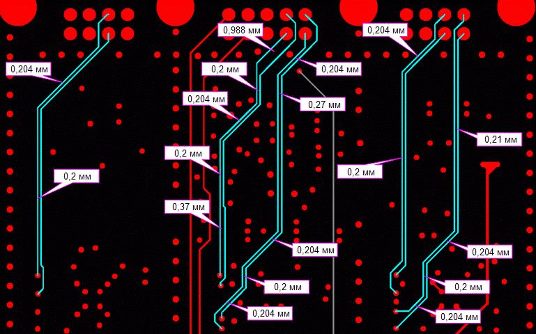 Рис.5 Пример дифф-пар с разным зазором между проводниками на разных участках
