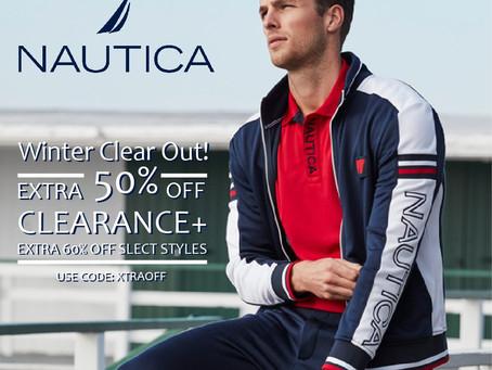 冬季商品清倉折扣。美國國民服飾品牌NAUTICA全面五折起
