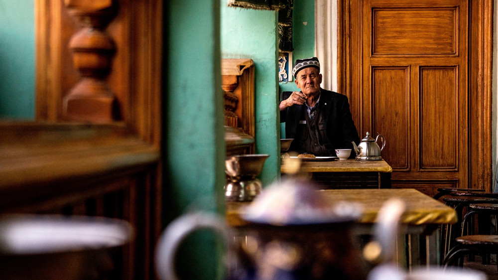 Local man in Xinjiang China enjoying tea