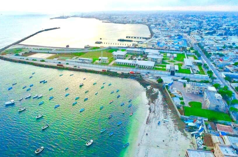 View of Mogadishu fishing harbour in Lido beach. Fisherman ready their boats to go out onto the Indian ocean.