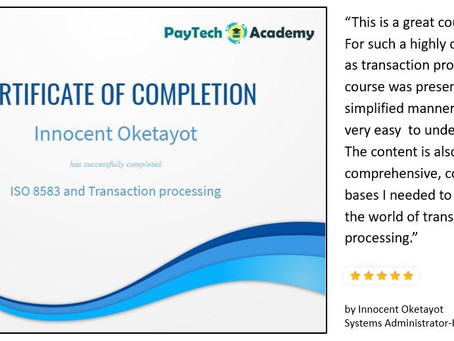 Great review of our course on ISO 8583 and Transaction processing by Innocent Oketayot