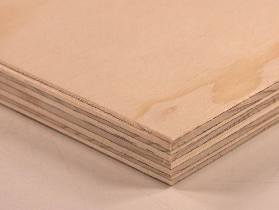 Corner edge of spruce plywood sheet