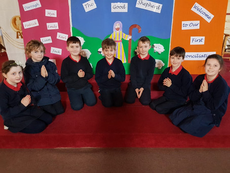 An excited 2nd class looking forward to their first confession this evening.