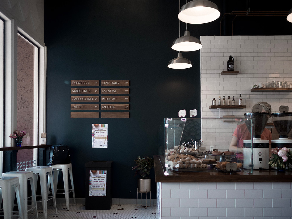 Interior shot of coffee shop