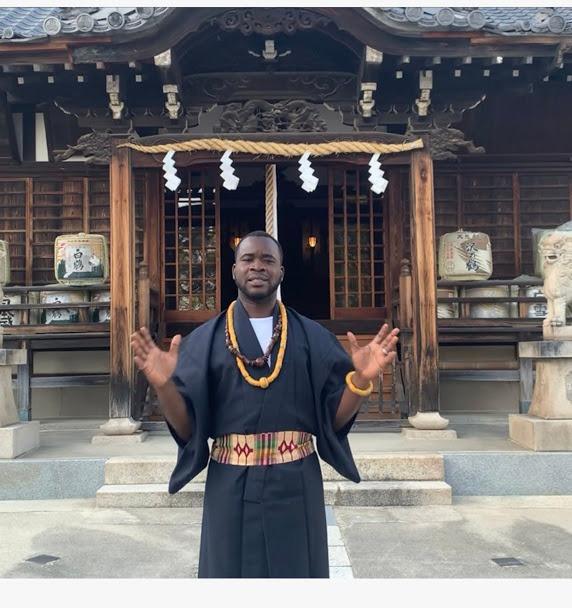 Kobby at the Itsukushima Shinto shrine in Kobe
