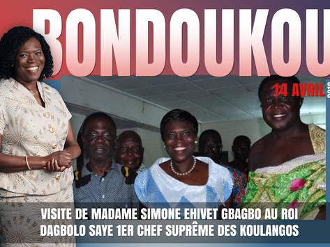 VISITE DE MADAME SIMONE EHIVET GBAGBO AU ROI DAGBOLO SAYE 1ER CHEF SUPRÊME DES KOULANGOS