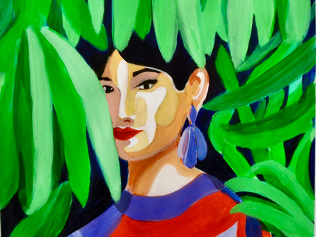 la Dame dans les feuilles . Acrylique