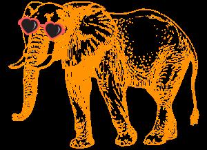Elephant, Heart Sunglasses, Funky, Cute