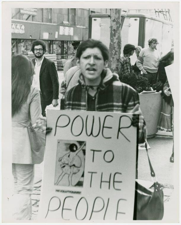 black and white photos of trans and gay rights activist Sylvia Rivera