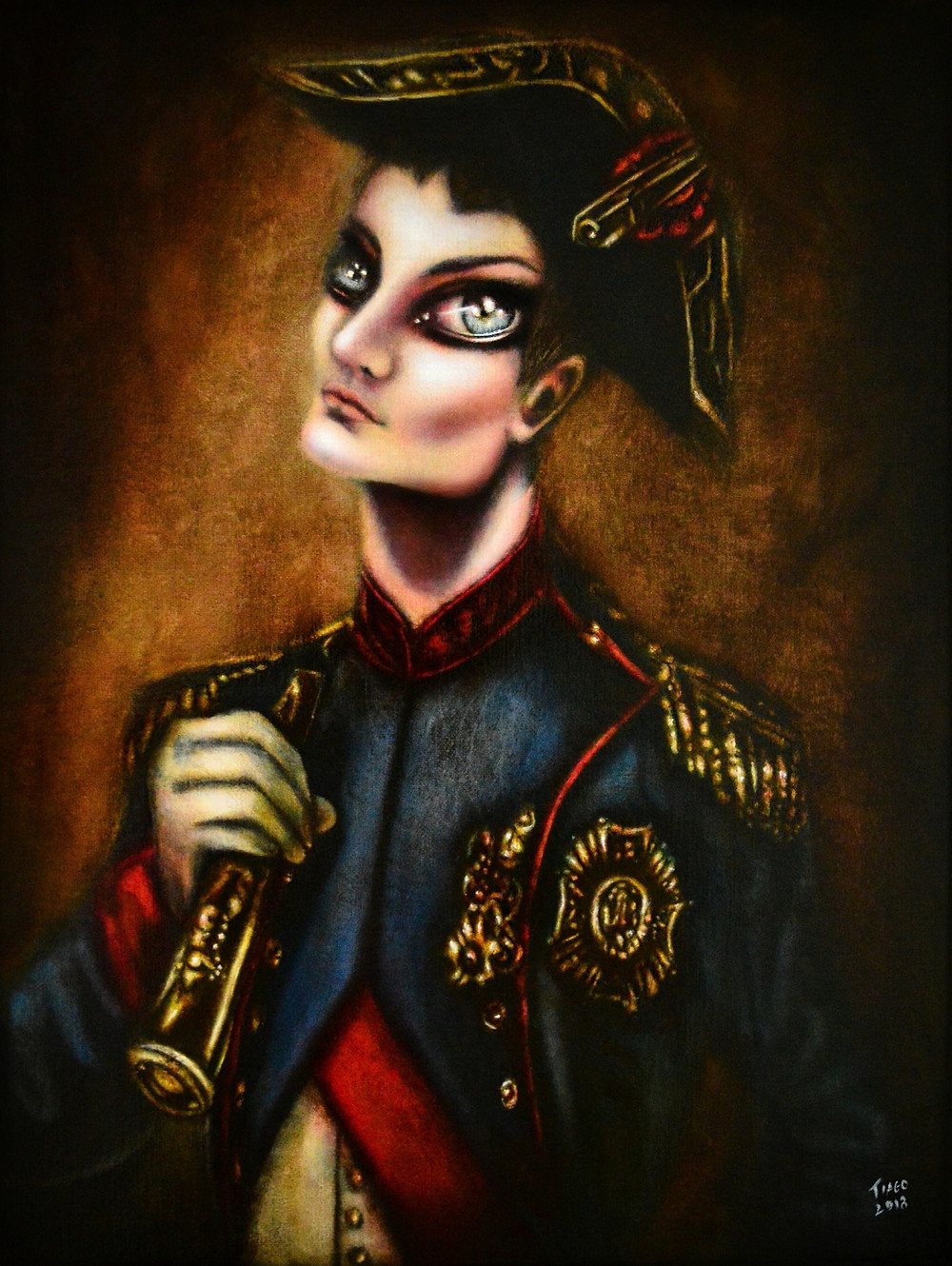 painting of napoleon with a telescope in hand and brown background by tiago azevedo a lowbrow pop surrealism artist