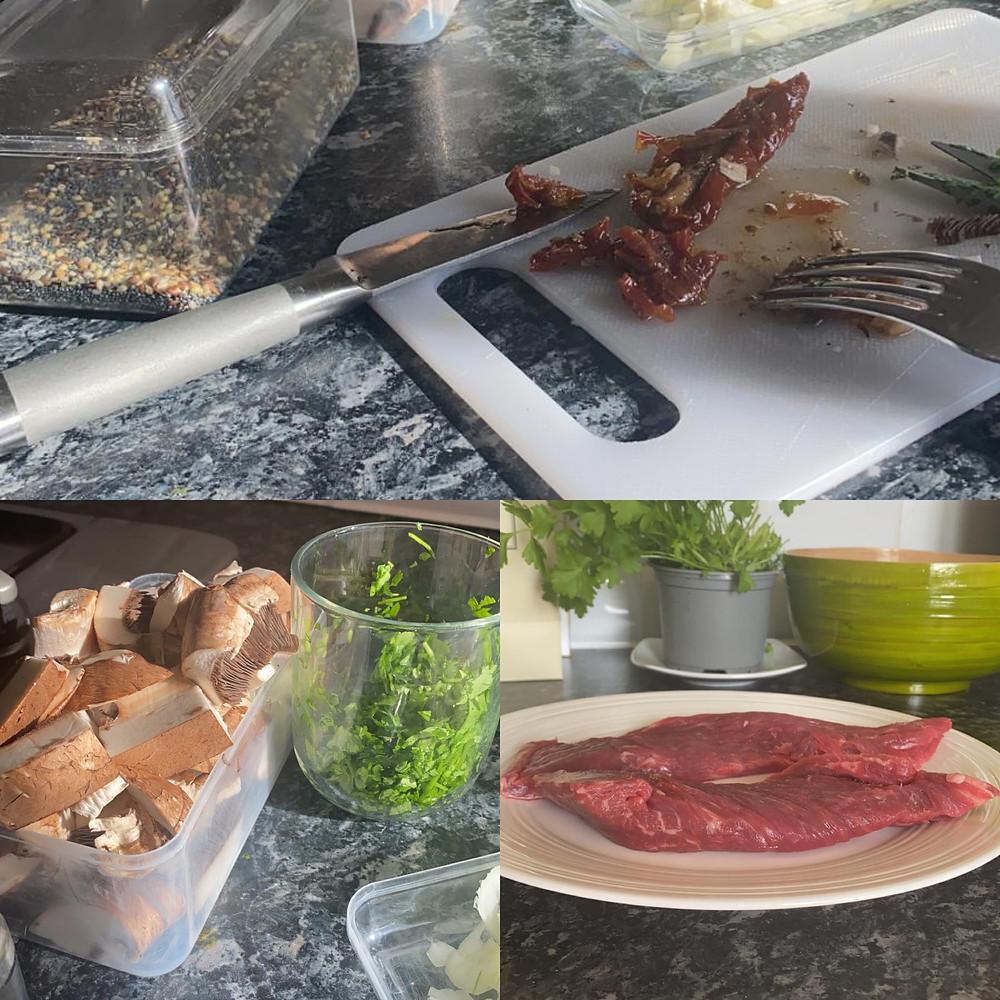 Preparing a steak dish.