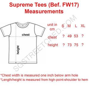 supreme t shirt measurements