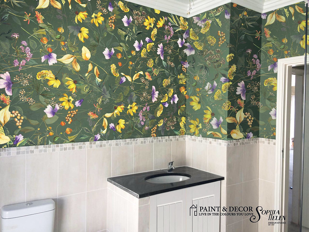 This wallpaper by SophiaHelen design is called from Dorethea with love. It is in the Romance pattern on dark green. Wallpaper in bathrooms are great to bring a softness to this often sterile room