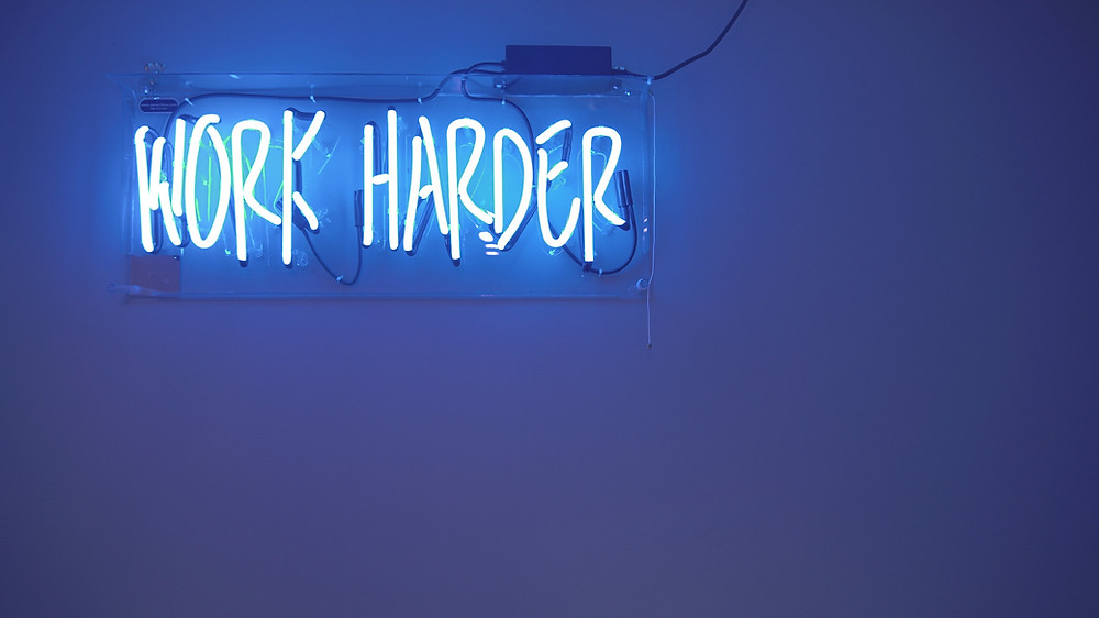 work harder neon light