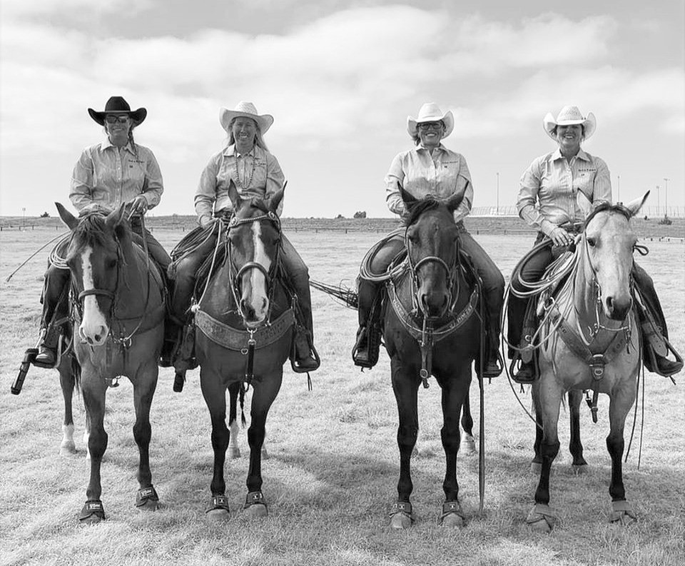 Preserving the legacy of working ranch women is the driving force that pushes two-time world  champion cowgirls, the 'Cactus Flowers'. Left to Right: Jessica Mosher, Katie Jolly, Heather Grokett, and LeAnn Perry