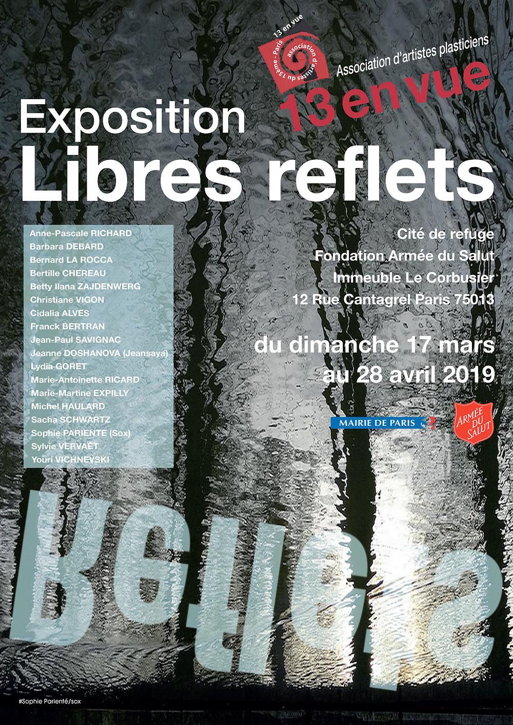 Affiche de l'exposition LIBRES REFLETS - création visuelle Sophie Pariente (Sox)