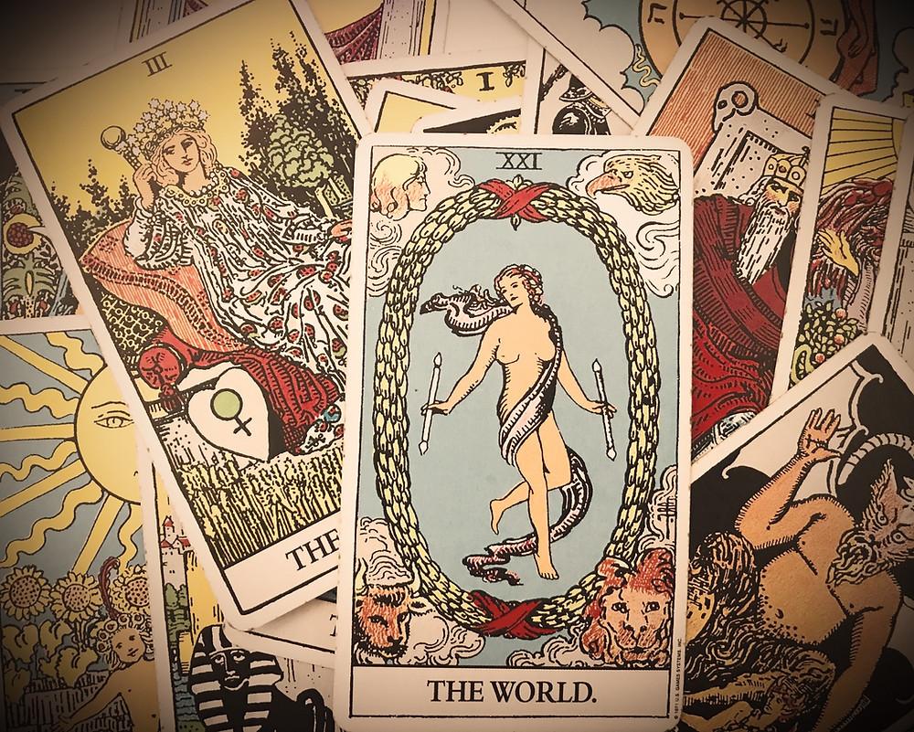 The World card Tarot Combinations with Major Arcana