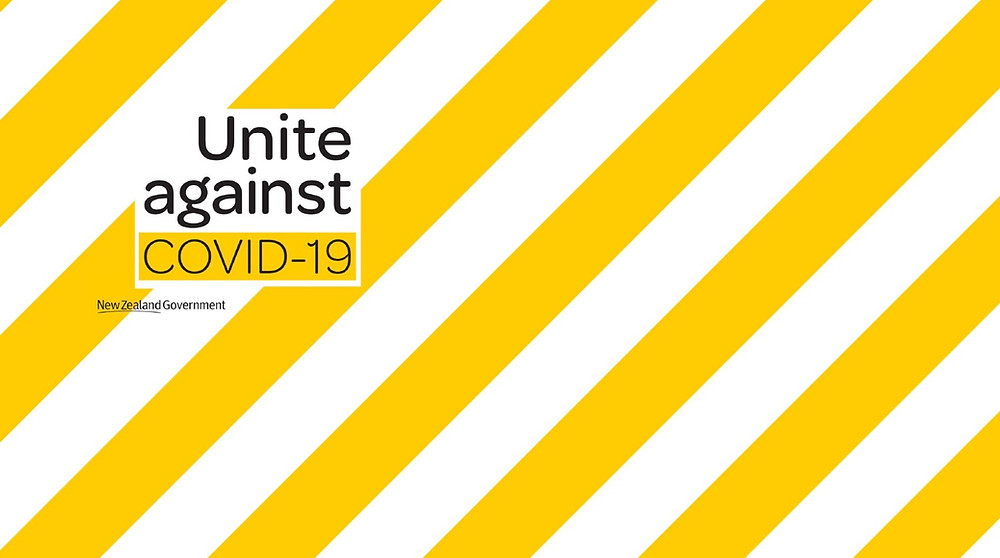 yellow and white stripe graphic urging people to unite against covid-19 in new zealand