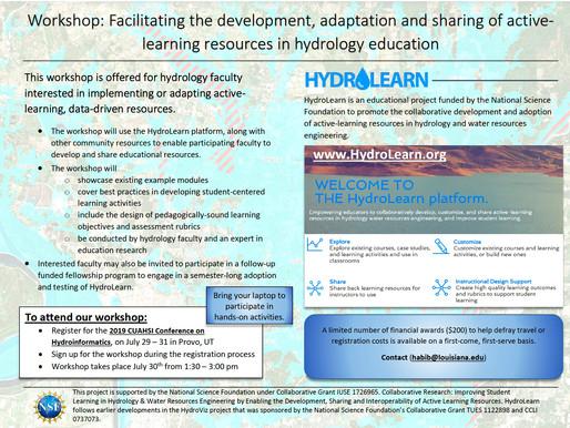 HydroLearn Workshop @ HydroInformatics CUAHSI Conference
