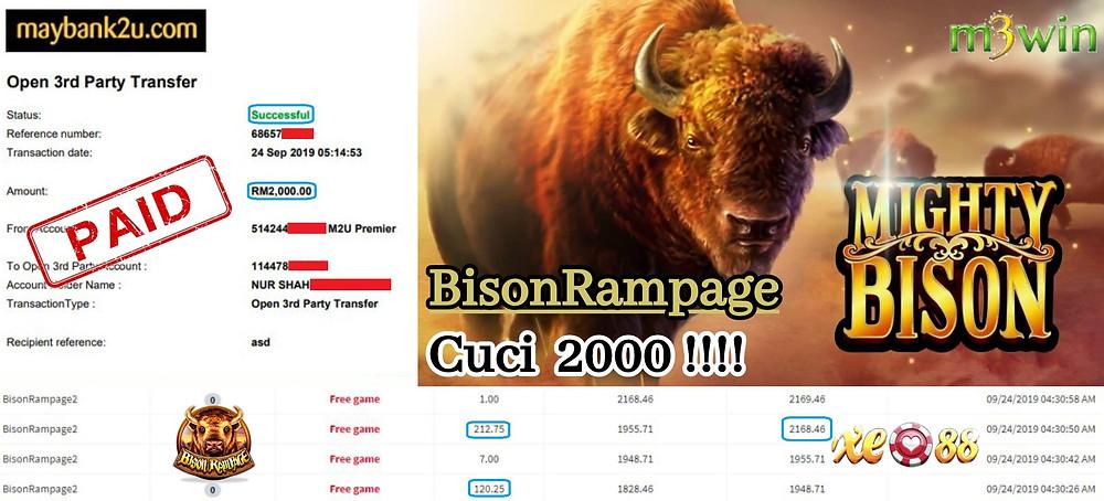 M3win member RM2000 withdrawal at Bison Rampage game