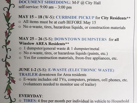 Pride in Winslow Clean-Up Schedule
