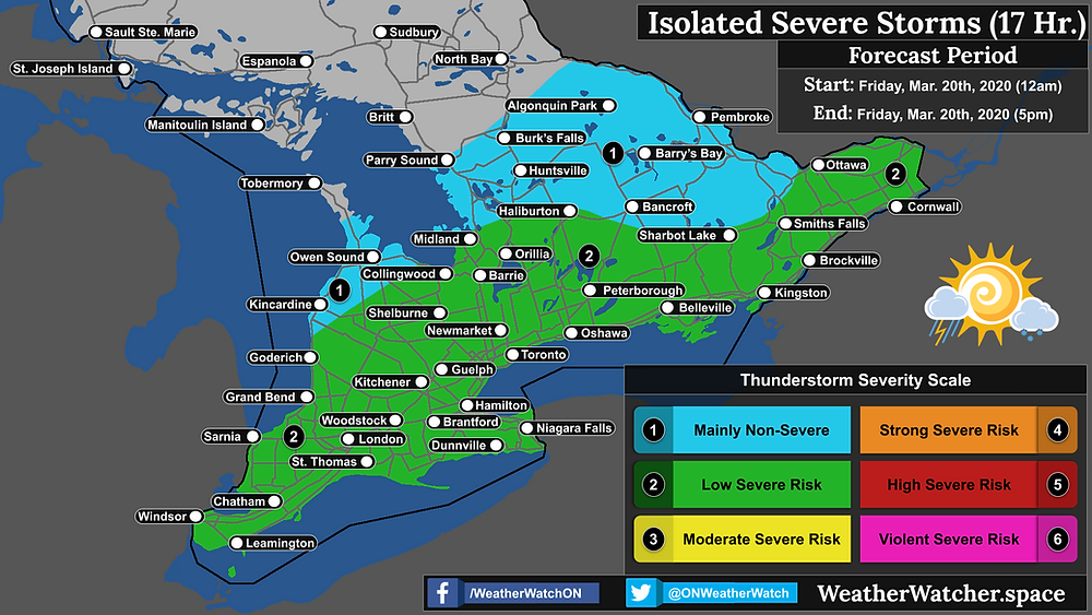 Thunderstorm Forecast, for Southern Ontario. Issued March 20th, 2020.