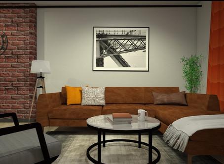 MENS CAVE (Interior design for men's apartment)