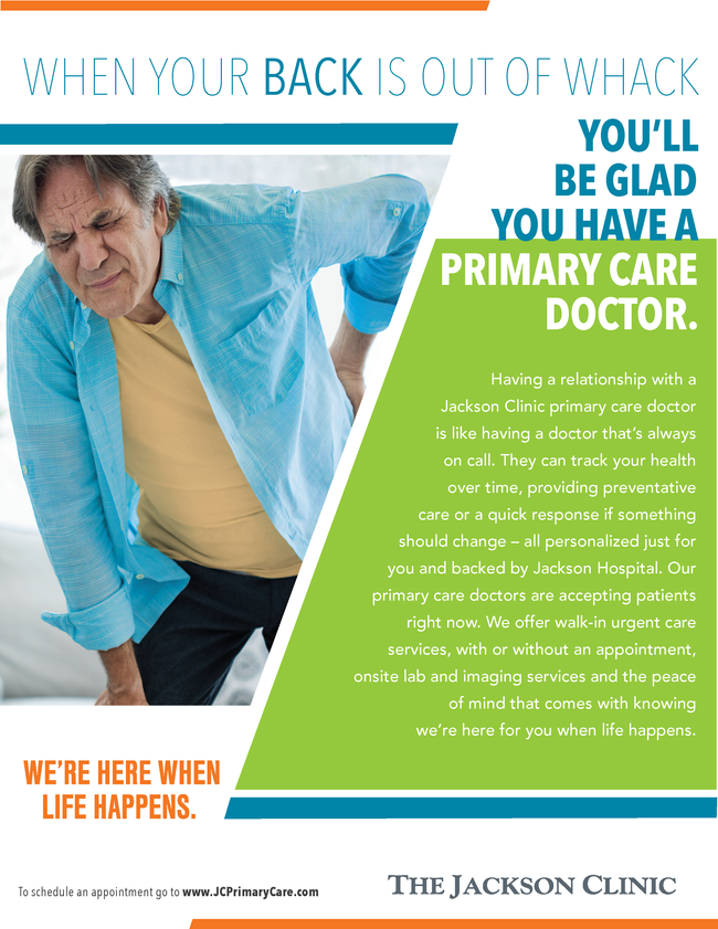 Jackson Clinic primary care ad back problems