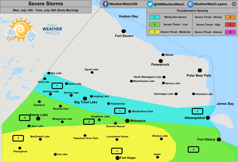 Thunderstorm Forecast, for Far Northern Ontario. Issued July 15th, 2019.