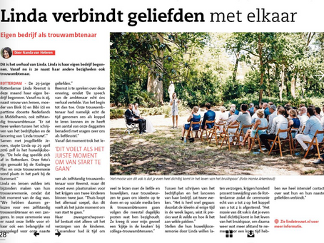 Linda trouwt in Rotterdamse krant 'De Havenloods'