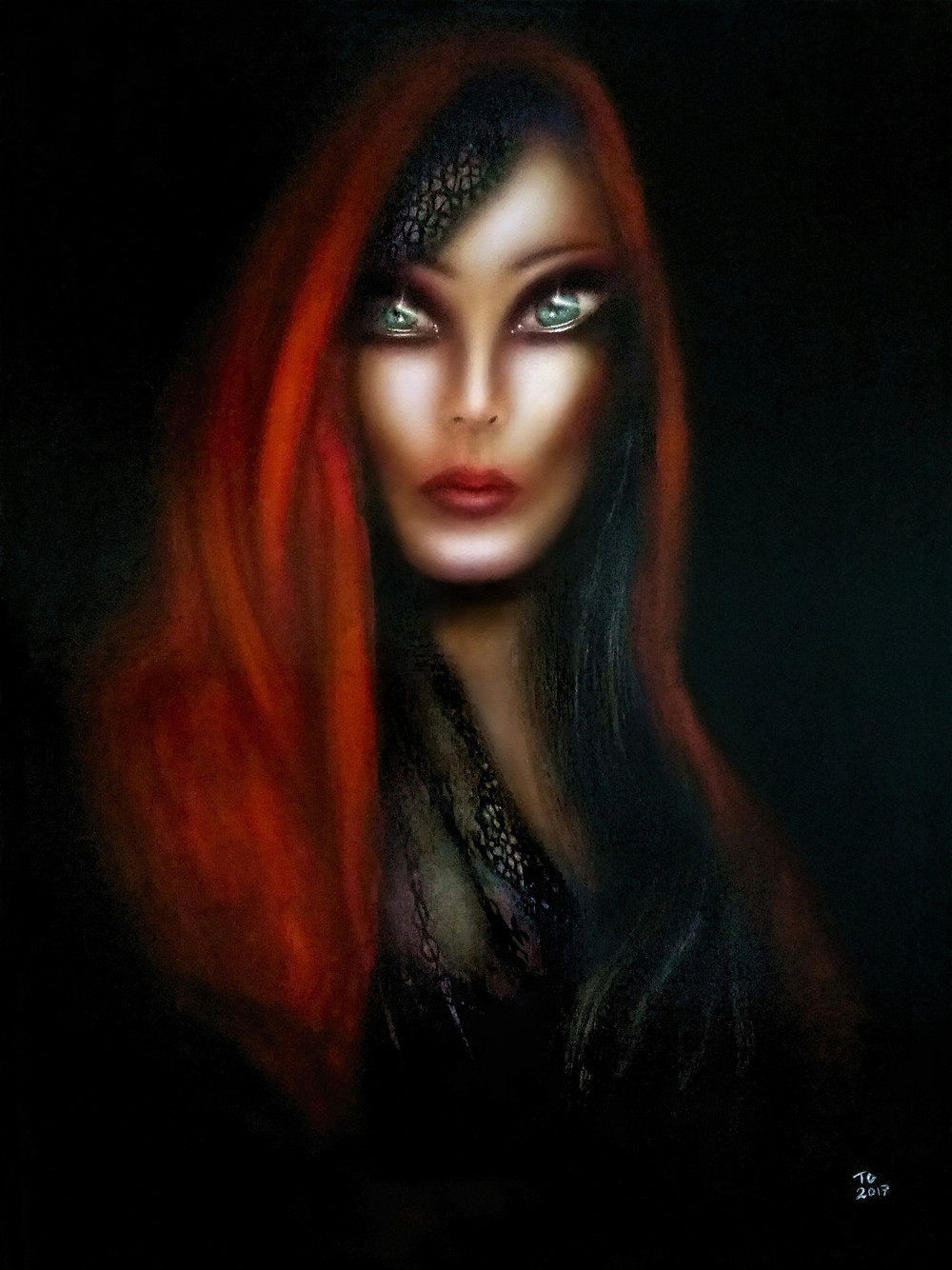 painting of mary magdalene with blue eyes and dressed in s red robe by tiago azevedo a lowbrow pop surrealism artist