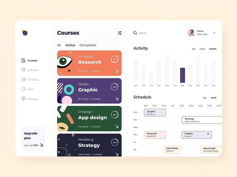 Courses schedule - Web app