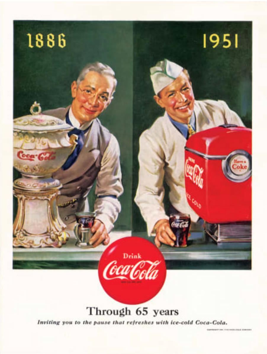 Anuncio de Coca-Cola: 65 años.