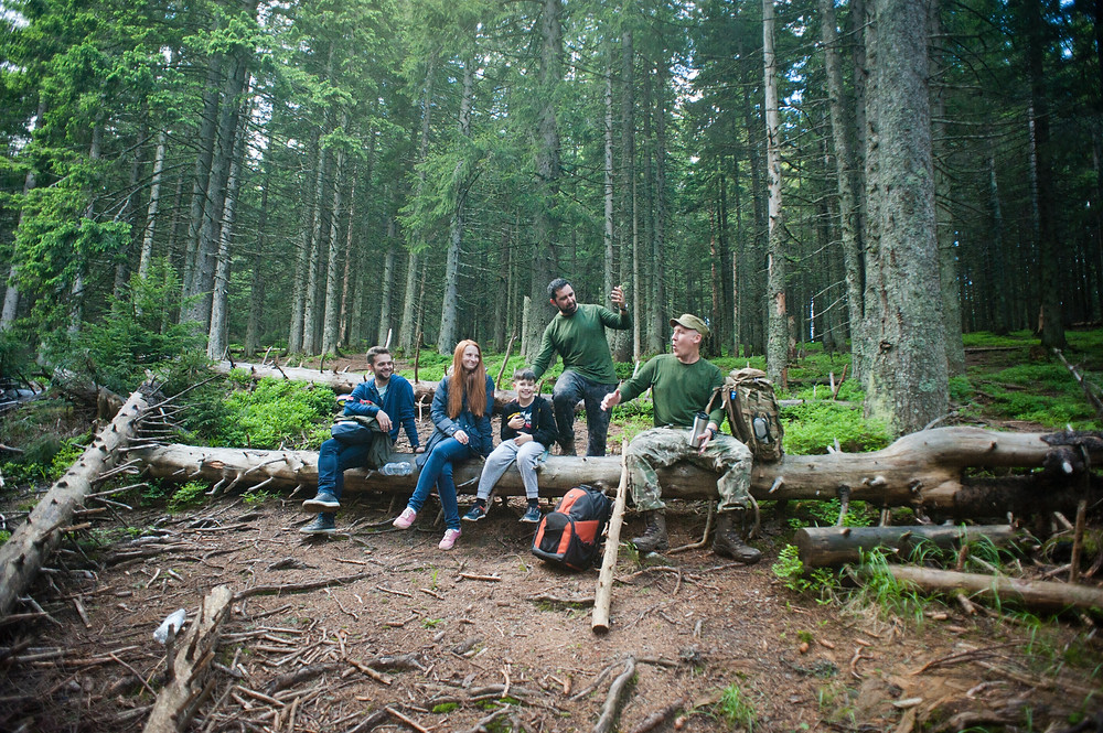Group of people in a forests, sitting on a log