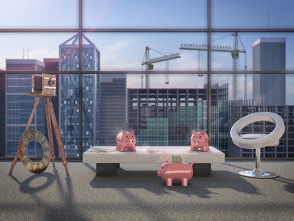 Photorealistic marketing 3D Rendering with the money pigs