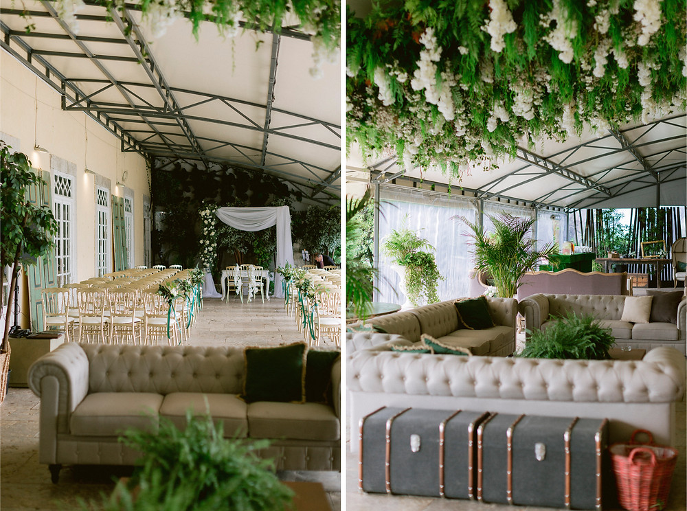 Floral and greenery wedding ceremony decoration at the indoor terrace of Quinta do Torneiro