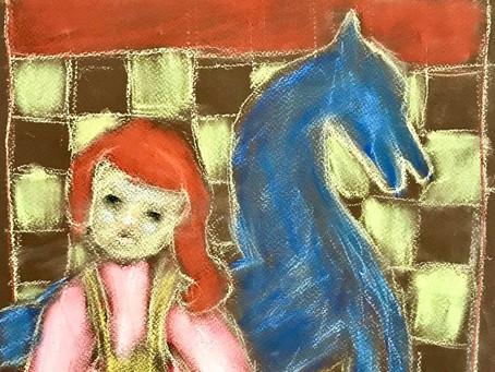 Dessin - Pastels -La poupée, le cheval et le damier