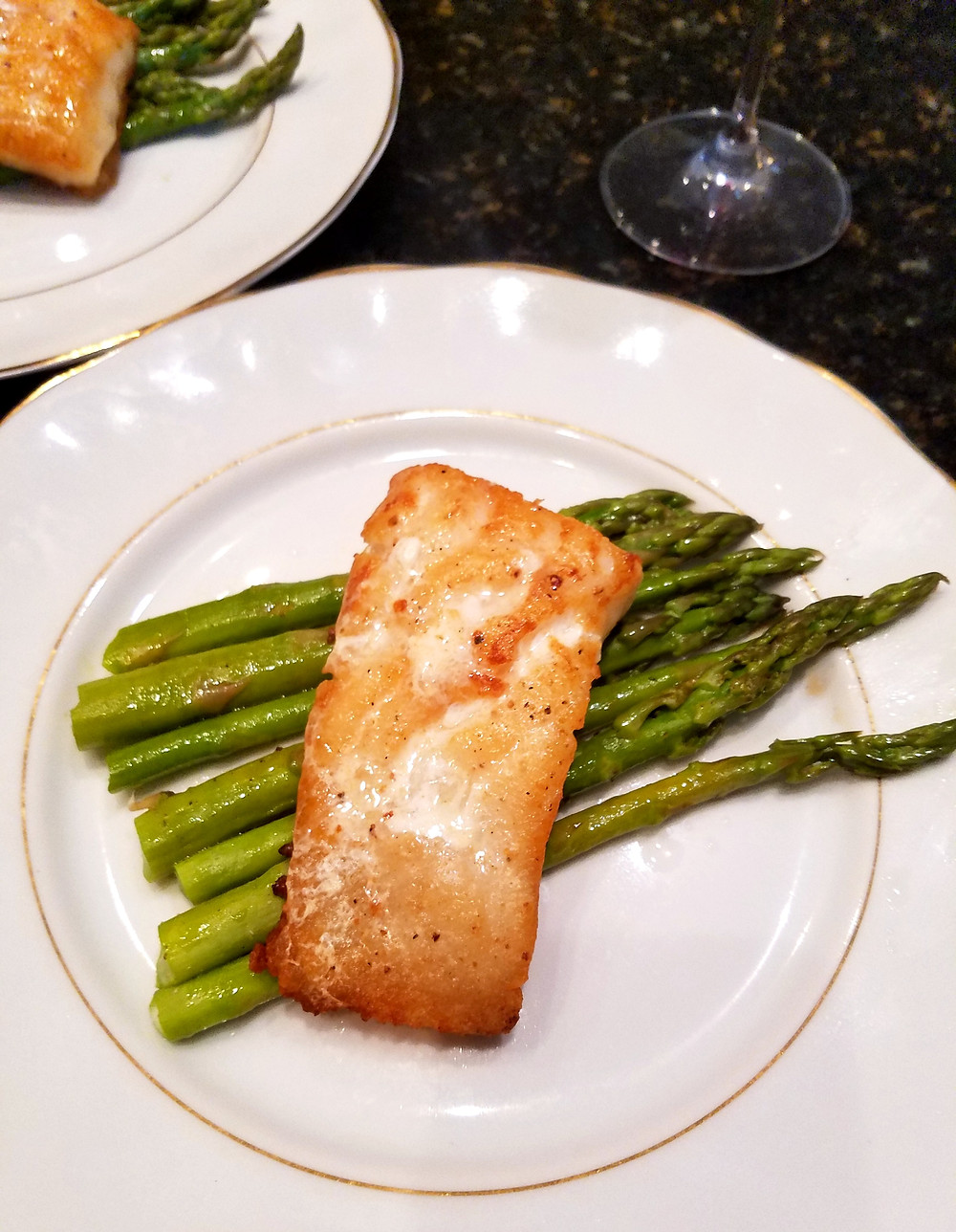 Pan-Seared Chilean Sea Bass with Asparagus (no gluten, soy, dairy, grains)
