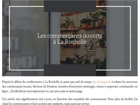 Confinement à La Rochelle : Le So Girly Blog vous informe des commerçants ouverts