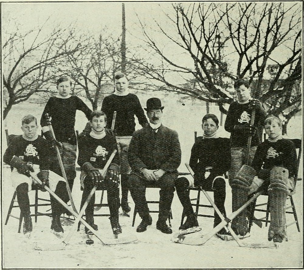 Old Hockey Photo of Travellers in Canada Exploring Winter