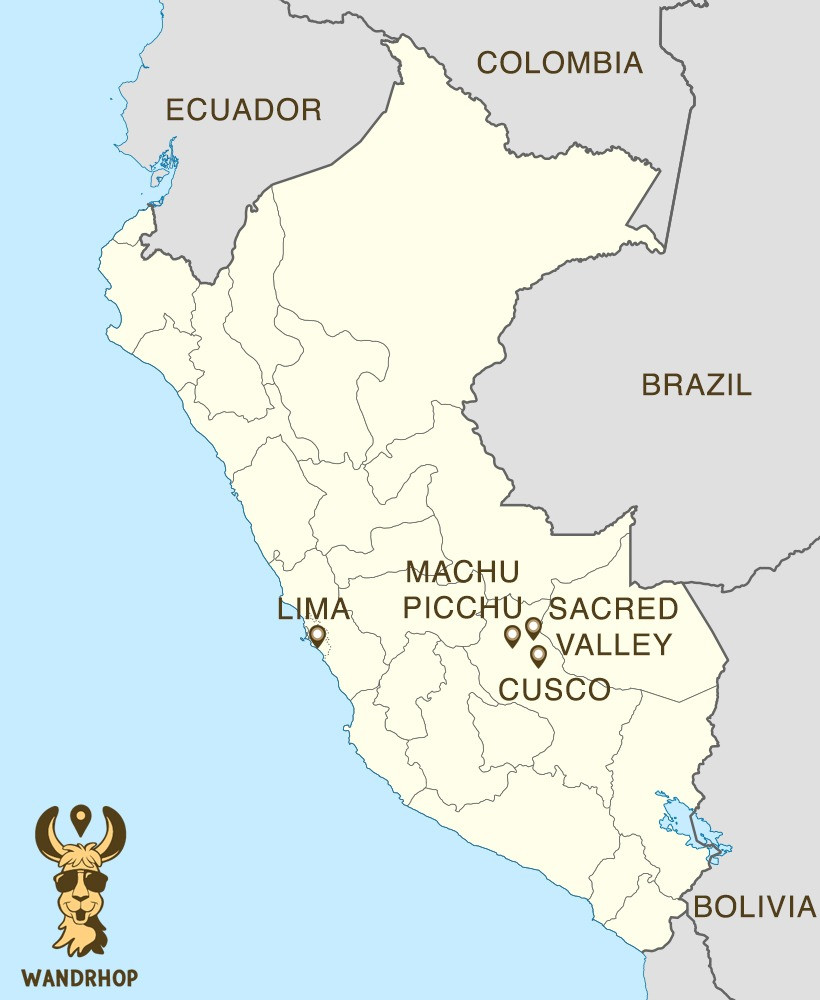 Map of Peru, highlighting locations of Lima, Machu Picchu, the Sacred Valley, and Cusco.
