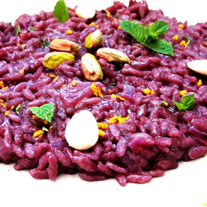 Risotto with Nero d'Avola wine, Almonds and Pistachios